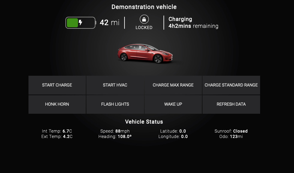 Tesla Driver for control4 Interface