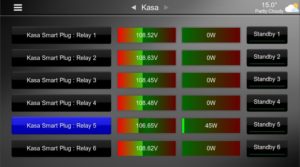 TP Link Kasa Energy monitoring interface within Elan